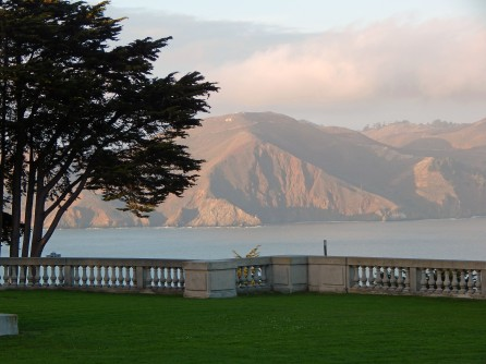 From the museum's lawn looking into the strait of the Golden Gate