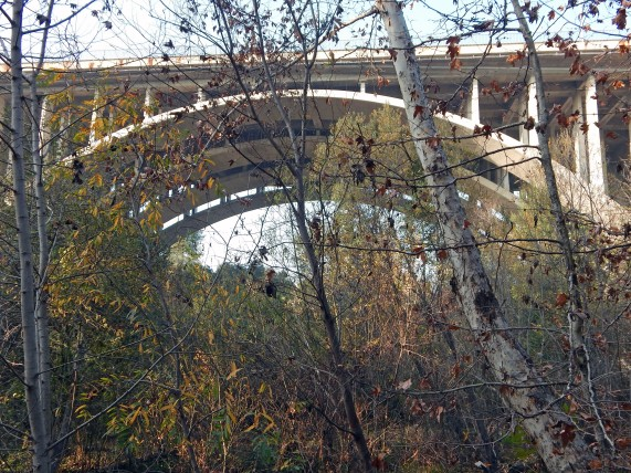 Freeway over the Arroyo Seco has four lanes in each direction